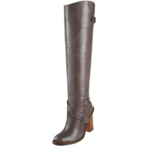 Boutique 9 Gray Leather Charissa OTK Tall Boots